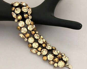 1950s Vintage REGENCY Rhinestone Bracelet - Rhinestone Statement Bracelet - Designer Signed Wide Bracelet - Yellow Rhinestone Gift for Wife
