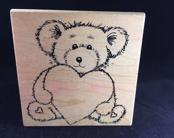 Teddy Bear Heart Rubber Stamp