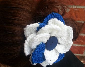 Royal Blue Crocheted Flower Hair Clip  Hair Flower