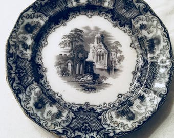 """The Abbey, w. Adams and sons plate black and white, 7 1/2"""""""