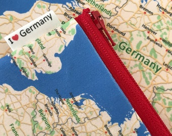 Germany map Zipper pouch - printed with the map of Germany, Europe - Made to order