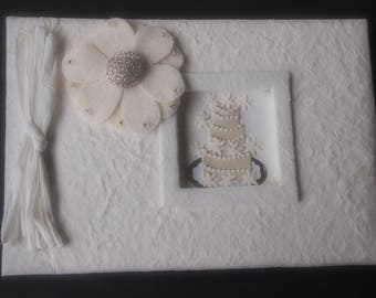 Wedding Guest Book Ivory Choose Flower Color