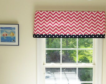 Window Valance with Trim, Trim Valance for Nursery, Flat Valance with Trim, Girls Room Pink Decor, Pink Window Decor, Chevron Window Valance