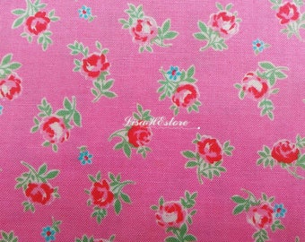 Small rose and small flower, pink, 1/2 yard, pure cotton fabric