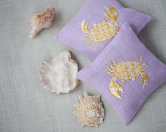 Embroidered Linen Cushions Handmade Lavender Sachets Lavender Pillow Embroidered Decor Set of Two Embroidered Scented Sachet OCEAN CRAB