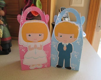 My First Communion Blonde Hair Favor Boxes Set of 30 with Free Shipping
