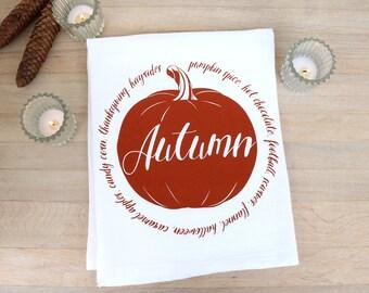 Autumn Tea Towel Thanksgiving Flour Sack Towel Hostess Gift Fall Decor