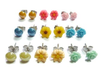 Petite Rose, Dot & Daisy Earring Set ~ Three Pairs ~ 8mm to 7mm - Post or Stud Earring ~ Gift ~ 3 pair ~ garden flower mix