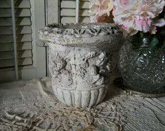 Vintage Concrete Urn With Baby Angles & Grapevines Decorative Top Rim Scalloped Bottom Chippy White Concrete Plant Flower Urn Flower Garden