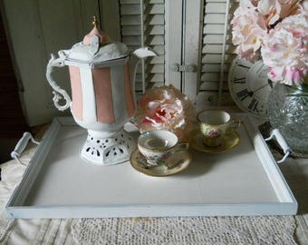 White Wood Serving Tray Vintage With Metal And Wood Handles Tea Tray Breakfast Tray Wedding Tray Vintage Party Serving Tray