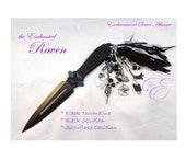 "the Enchanted Raven - Enchantment Series Embellished Athame   -- 9"" Black Blade, Embellished to honor the Raven"