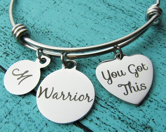 warrior bracelet, you got this jewelry, inspirational gift, empowerment jewelry cancer survivor gift, sober addiction recovery mental health