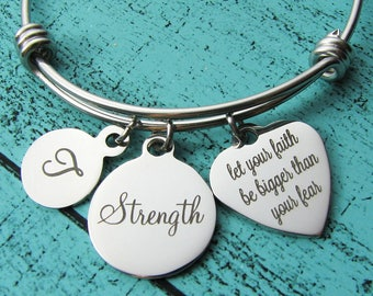 Strength gift bracelet, strong women jewelry, survivor gift, NA AA addiction recovery, inspirational empowerment encouragement bracelet