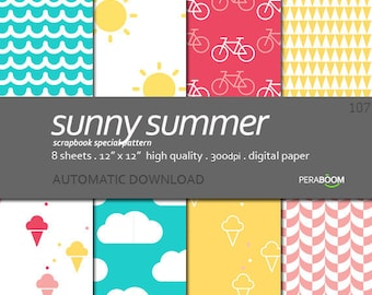 Bright Summer Digital Paper, Summer Digital Background, Paper background, Pink paper pack, Clouds, paper scrapbooking Sunny Summer 107