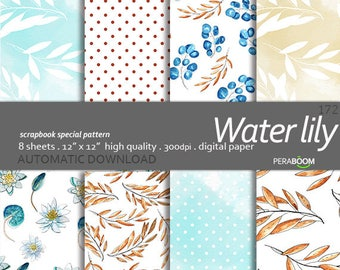 Water lily, Floral Digital Paper, Plant Backgrounds, Watercolor, Hand Drawn Patterns, Scrapbooking, Invitations Planners Wedding, Commercial