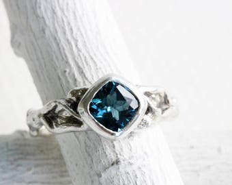 London Blue Topaz Leaf twig engagement ring,Silver Twig Nature Ring, Tree Fine Jewelry