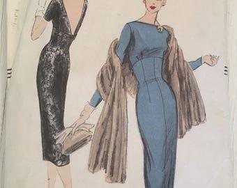 50s Vogue Dress Pattern 8993 One Piece Dress Size 12 Bust 32 Hip 34