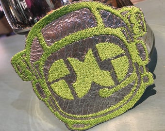 Disco Biscuit Astronaut Iron on Patch ~ Silver metallic and lime Bisconaut ~ READY TO SHIP