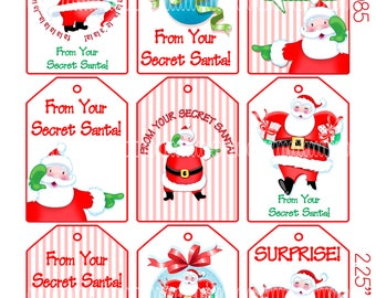 Digital Clipart, instant download, Secret Santa Christmas Tags, gift tags--Santa Claus Merry Christmas--8.5 by 11 Digital Collage Sheet 4085