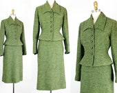 Women's 1940s Victory Suits and Utility Suits Vintage 1940s suit . The Esmeralda . pine green 40s  50s boucle wool suit . 1940s green skirt suit . $156.00 AT vintagedancer.com