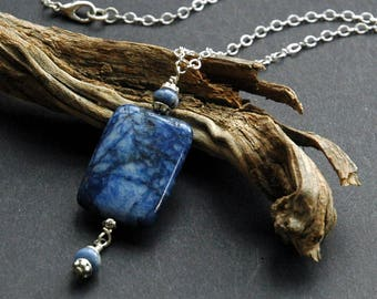 Sodalite Pendant with Silver Chain Necklace, Simple Casual Necklace, Delicate Chain, Blue and Silver, Stone Pendant