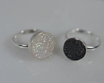 Sterling Silver Druzy Ring in Black or White