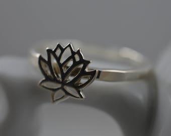 Lotus Flower Ring in Sterling Silver - 925 Lotus Ring