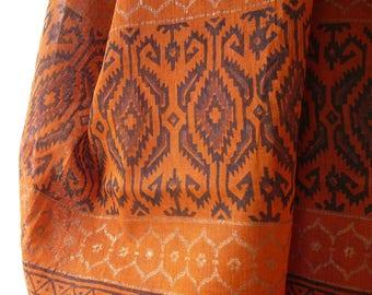 fine cotton shawl throw wrap tan black gold promitive ethnic tribal design