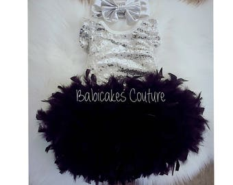 Babys 1st Christmas, Full Feather Tutu, Baby Silver Sequin Bodysuit, Gold Headband, Black and Silver 1st Birthday, 1st Birthday Girl Outfit