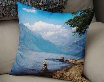 Mountain Pillow, Montana Pillow Case, Mountain Throw Pillow, Large Throw Pillow, Nature Decor, Alpine Lake, Cairn, Glacier National Park