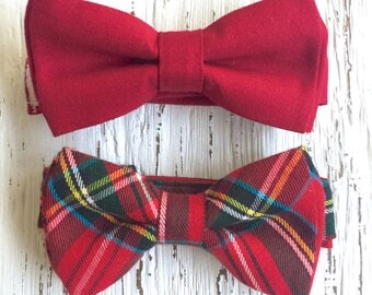 READY TO SHIP (size 3-6 yo), red bow tie, redbowtie, tartan bowtie, red plaid bowtie, boys bow tie, bowtie for baby, ties for kids