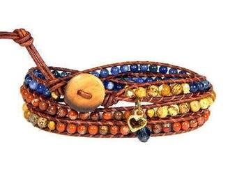 Leather Wrap Bracelet Blue Orange Denim Triple Wrap Bohemian Heart Bracelet Boho Jewelry Aerieannas Wristcraft