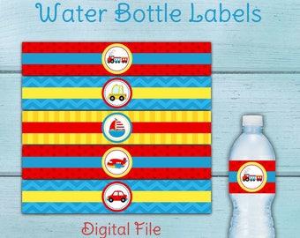 Transportation Party Water Bottle Labels, Transportation Birthday Party, Transportation Baby Shower, Planes, Trains, Automobiles, Car, Bus