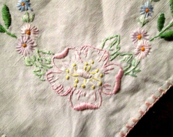 Hand Embroidered Linen Tablecloth, Roses