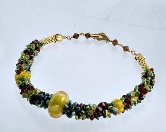 TURQUOISE, RUST and YELLOW Beaded Kumihimo Necklace, with 3 Lampwork Beads