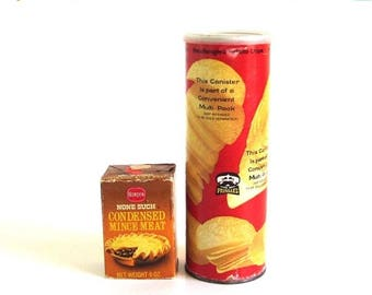 SALE 1970s Groceries Food Packaging Pringles Potato Chip Can None Such Mincemeat Box Borden