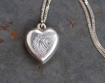 Sterling Silver Heart Necklace - Vintage Love Pendant on Chain