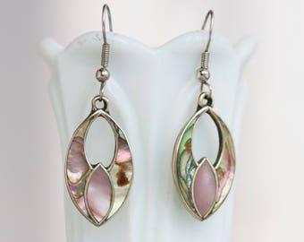 Boho Dangle Earrings - Alpaca Silver and Abalone Seashell