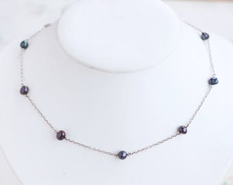 Purple Pearls Necklace - Sterling Silver Chain and Fresh Water Pearls - Short Necklace - Marks and Spencer