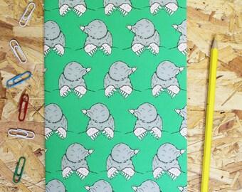 Mole A5 Notebook - cute notebook - notebook - animal notebook - blank notebook - mole - notebook for men- charity gift - gardeners gift -