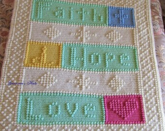 Baby blanket with verse Faith Hope Love