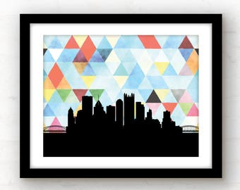 Pittsburgh skyline art | geometric Pittsburgh art | watercolor wall art | geometric home | Pittsburgh print | geometric poster