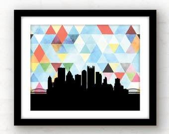 Pittsburgh skyline art | geometric Pittsburgh art | watercolor wall art | geometric home | Pittsburgh print | geometric poster