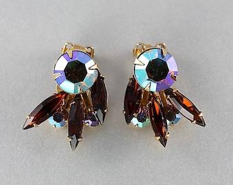Vintage Topaz Rhinestone Earrings, Aurora Borealis, Navette Rhinestone Beau Jewels clip on Earrings