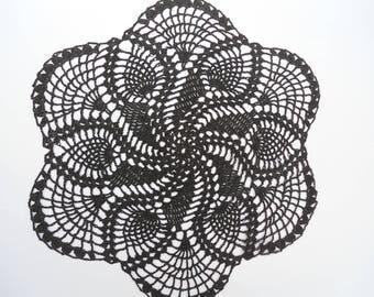 "Black crochet doily, lace doily, black lace, crochet centerpiece, 13"""
