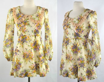 1970s Mini/Babydoll Ivory Long Sleeve Dress with Purple, Yellow and Pink Floral Print