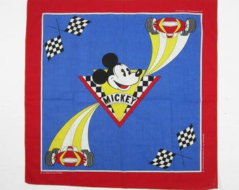 Vintage Mickey Mouse Bandana Walt Disney Print Handkerchief Made in USA