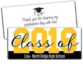 Set of 12 - Class of 2018 Graduation Candy Bar Wrappers - Personalized Graduation Party Favors - Any color