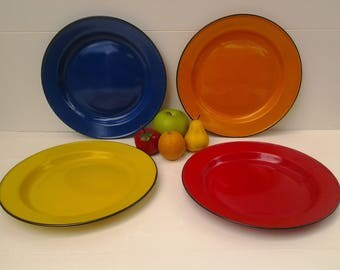 Vintage enamelware plates - multi color enamelware - glamping - multi color graniteware - camping plates - outdoor dining - camping dishes