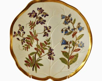 Antique Royal Worcester Blush Ivory Gilded Leaf Form Plate Hand Painted